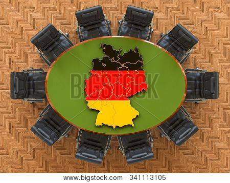 Deutsch Goverment Meeting. Map Of Germany On The Round Table, 3d Rendering