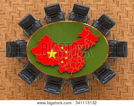 Chinese Goverment Meeting. Map Of China On The Round Table, 3d Rendering