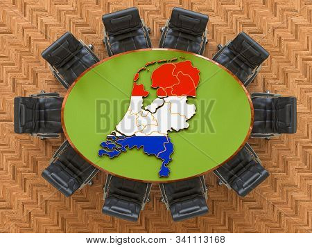 Holland Goverment Meeting. Map Of Netherlands On The Round Table, 3d Rendering
