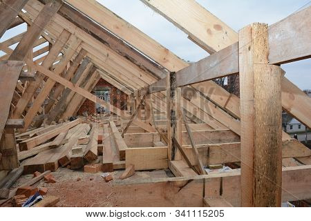 Unfinished Attic  House Rooftop Roofing Construction Attic Trusses, Frame Wooden Beams, Eaves, Timbe