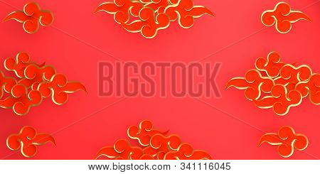 Happy Chinese New Year Background 2020, Year Of Rat , Red And Gold Traditional China Cloud Paper Cut
