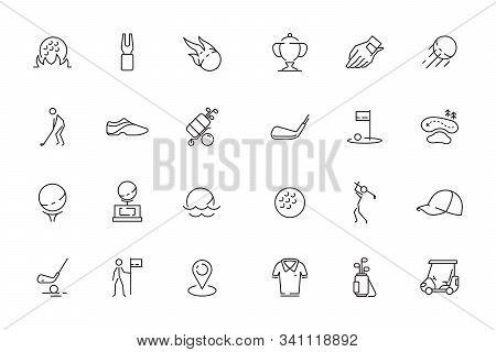 Golfing Icon. Sport Club Vector Symbols Bag With Sticks Rockets Mini Golf Balls Car. Golf Car, Sport