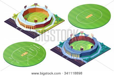 Set Of Isolated Circle Cricket Pitch Or Grass Field. Day, Night Stadiums For Cricketer Sport Competi