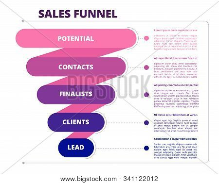 Funnel Sales. Marketing Business Symbols Of Leads Generation And Conversion Vector Infographic Pictu