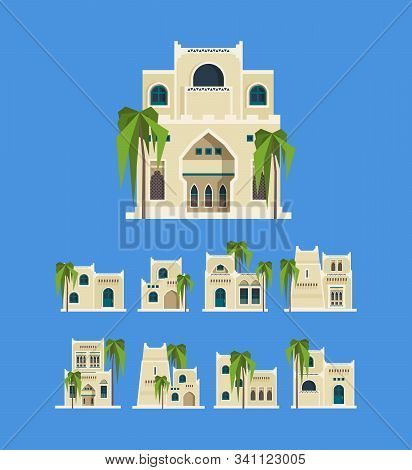 Desert Arabic Buildings. Egypt Antique Old Traditional Houses Brick Architectural Objects Old Homes