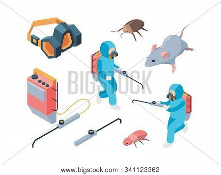 Pest Destruction. Fumigation Poison Controlling Pest Insects Service Vector Isometric. Illustration
