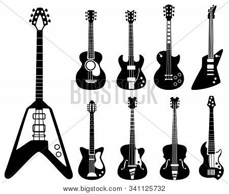 Guitar Silhouettes. Musical Instruments Black Symbols Acoustic And Rock Guitars Vector Set. Silhouet