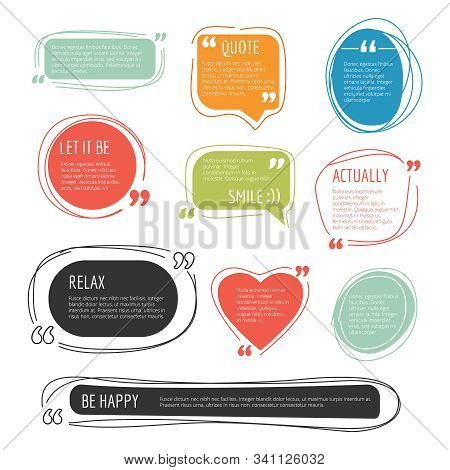 Quote Frames. Text Blog Colorful Information Blocks Sticky Labels For Web Pages Vector Templates. Il
