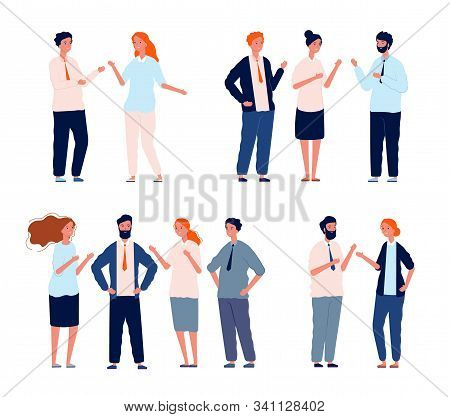 Business Characters Talking. People Groups Conversation People Dialogue Vector Set. Conversation Tal