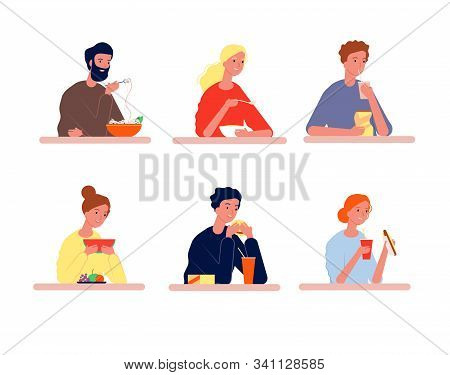 People Eating. Hungry Characters With Different Food Vector Person Eating Flat Pictures. Guy Eating