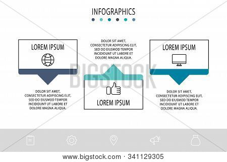 Vector Infograph Flat Template. Shape With Arrow For Three Diagrams, Graph, Flowchart, Step For Step