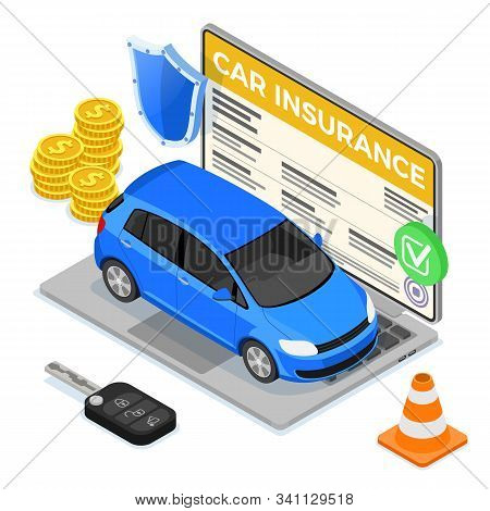 Online Car Insurance Isometric Concept For Poster, Web Site, Advertising With Car Insurance Policy O