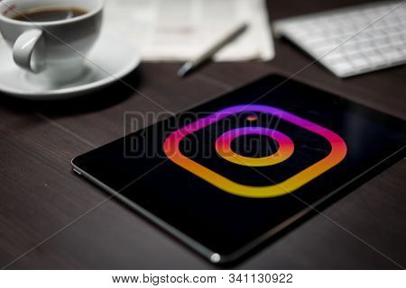 New York, New York / USA - 11 11 2019: Logo of Instagram on the iPad Air2 in on office desk