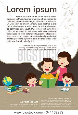 Education And Learning,family And Children Thinking Idea.education Concept With Family Background Te