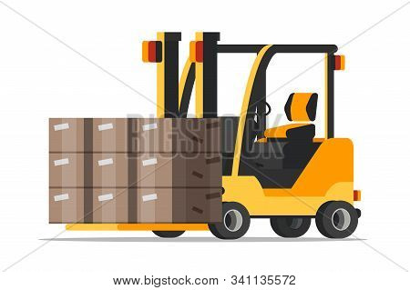 Warehouse Forklift With Boxes Flat Illustration. Yellow Mechanical Loader Isolated Vector Clipart. C