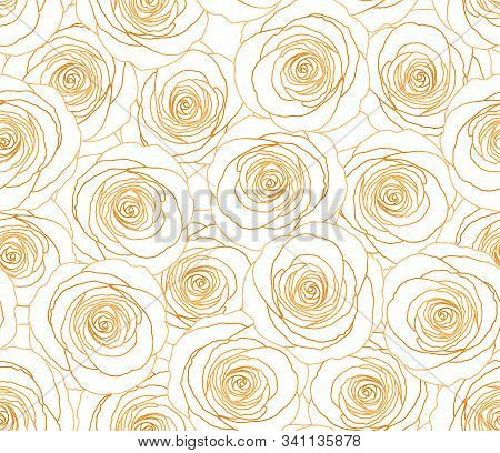 Gold Rose Seamless Pattern. Flower Vector Background. Glitter Gold And White Fashion Pattern. Old Fa