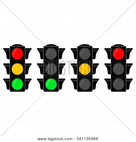 Vector Illustration With  Traffic Semaphore For Your Design