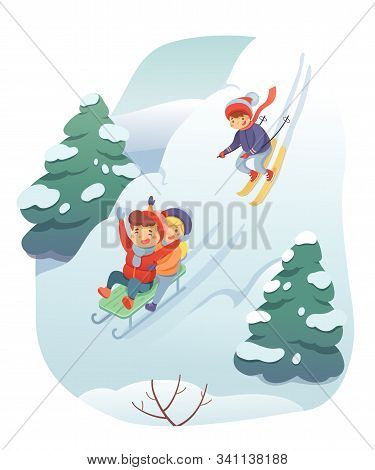 Skiing And Sledding Flat Vector Illustration. Snow Hills Landscape. Children On Sled And Skis Cartoo