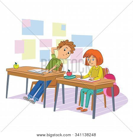 School Test Cheating Flat Vector Illustration. Schoolmates, Classmates In Uniform Cartoon Characters