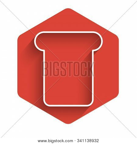 White Line Bread Toast For Sandwich Piece Of Roasted Crouton Icon Isolated With Long Shadow. Lunch,