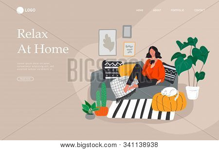 Landing Page Template With Girl Sitting And Resting On The Couch With A Cat And Coffee. Daily Life A