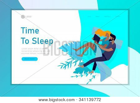Landing Page Template Sleeping People Character. Family Are Sleep In Bed Together In Various Poses,