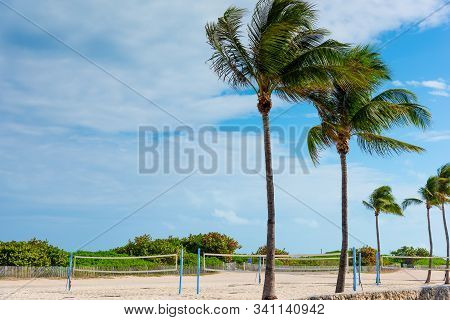 Beach Volley Nets And Palm Trees In Miami Beach, Usa