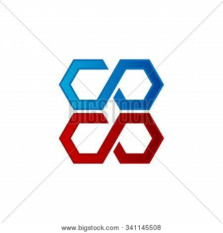 Abstract Letter C O In Red And Blue Color , Logo Design Vector Template.