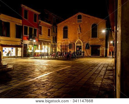 San Toma Square In Venice At Night, Italy