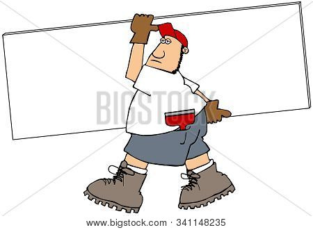 Illustration Of A Worker Wearing Shorts Carry A Full Piece Of Sheetrock.