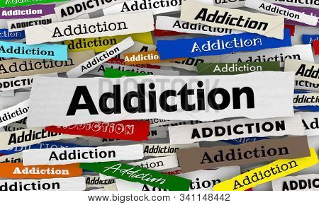 Addiction Drug Problem Habit Treatment Newspaper Headlines 3d Illustration