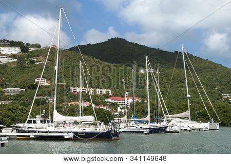 Yachts Moored In Baughers Bay Road Town Marina On Tortola Island (british Virgin Islands).