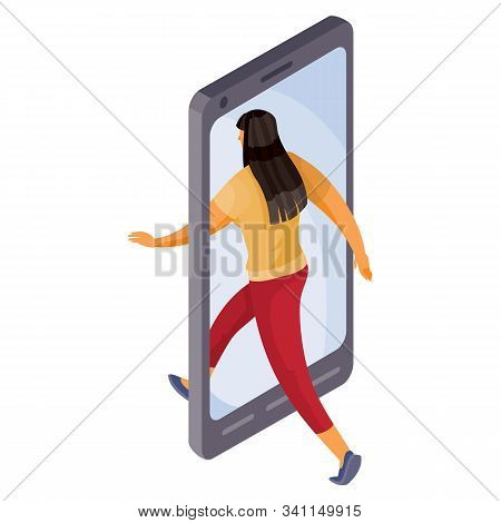 A Woman Leaves The Phone Or Goes Into It, She Found What She Was Looking For And Got There Where She
