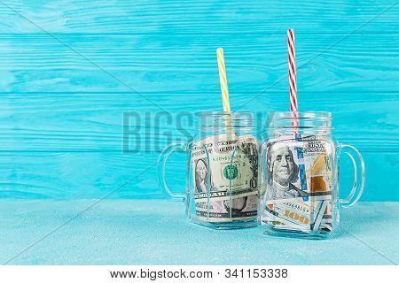 Business Concept. Money In Jar. Crisis, Devaluation, Save Money.