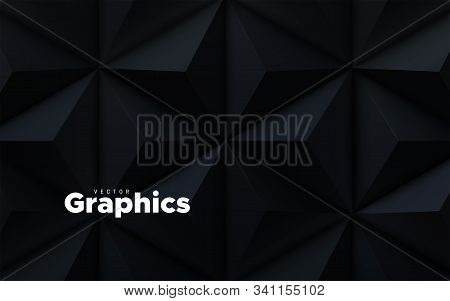 Abstract Geometric Background. Vector 3d Illustration. Triangle Or Pyramid Black Shapes. Polygonal T