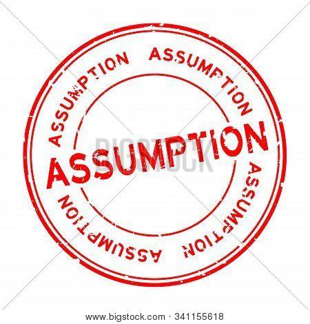 Grunge Red Assumption Word Round Rubber Seal Stamp On White Background