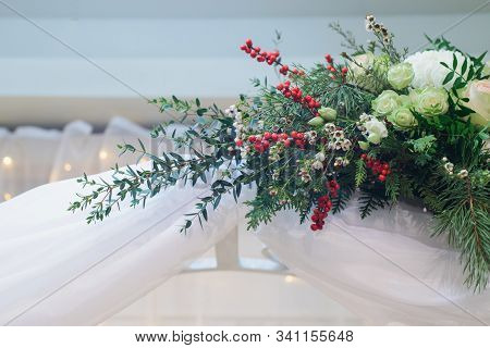 Marriage Flower Composition On Arch With Chrysanthemum, Rose, Pistachio, Thuja, Waxflower, Ilex, Eus