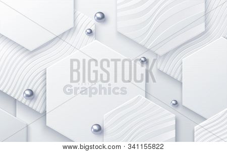 Elegant Cover Design. Minimal Composition With Geometric Shapes. Vector 3d Illustration. White Hexag