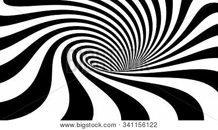 Abstract Striped Background. Whirlpool Or Vortex Shape. Vector Illustration Of 3d Optical Illusion.