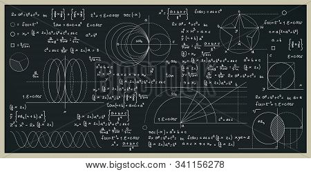 Math And Science Formulas With Numbers On The Blackboard.