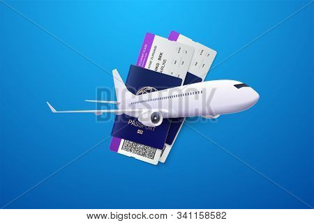 Vector 3d Illustration Of Passports, Boarding Passes And Airplane. Travel Concept. Booking Service O