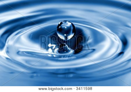 Spherical Drop Of Water Captured Right Before Impact