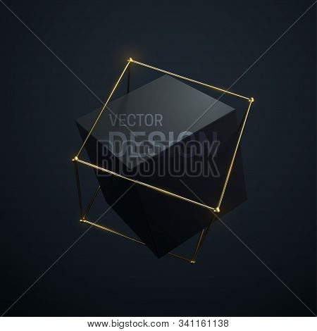 Abstract Geometric Composition With Black Cube And Golden Lattice Structure. Vector 3d Illustration.