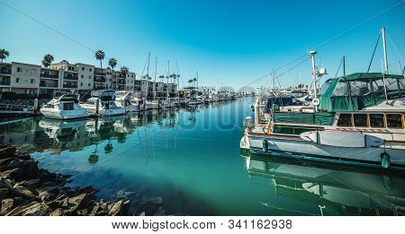 Boats In Oceanside Harbor On A Clear Day. California, Usa