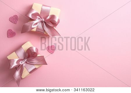 Valentines Hearts With Gift Box On Pink Background. Greeting Card Design With Symbols Of Love For Ha