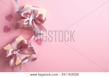 Valentine's Day Composition With Gift Box, Hearts And Ribbon On Pink Background. Flat Lay, Top View,