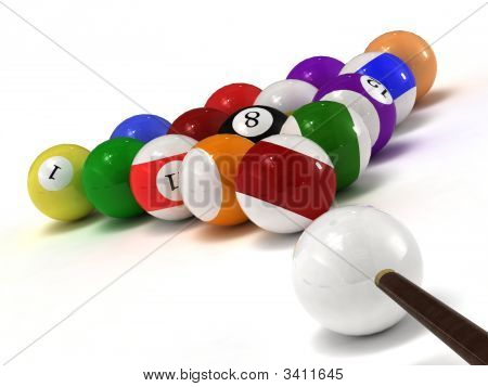 Billiard Balls Isolated On White Background