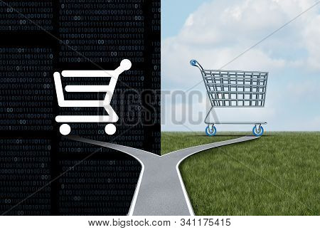 Online And Offline Shopping Or Internet Commerce Dilemma And Buying Choice Choosing Between Two Shop