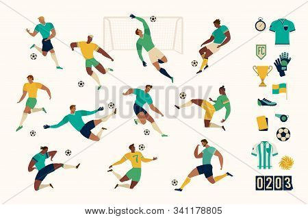 Football Soccer Player Set Of Isolated Characters And Modern Set Of Soccer And Football Icons. Vecto