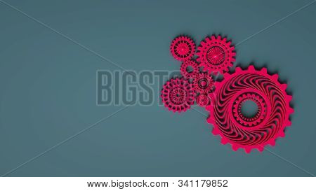 3d Composition Of Coral Pink Red Gears Symbolizing Cooperation And Teamwork. Business Mechanism Conc